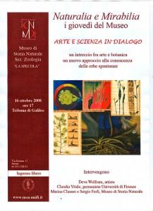 Invito Museo LA Specola, Firenze 2008